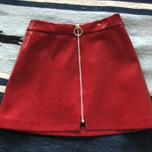Zara red pleather mini skirt